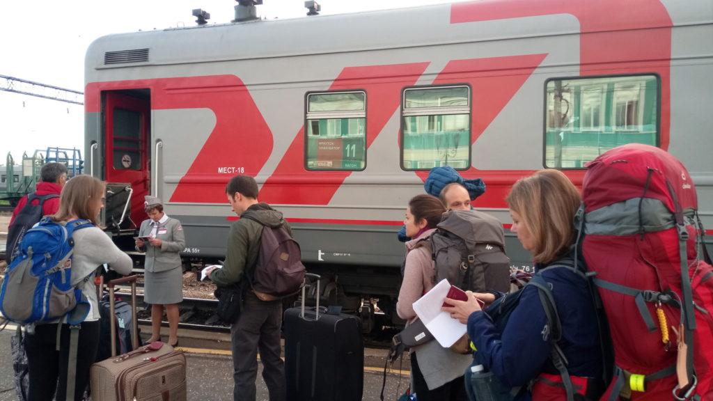 Transsibirische Eisenbahn - Kontrolle beim Einsteigen in Irkutsk