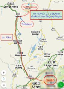 Wegbeschreibung Guilin - Longsheng