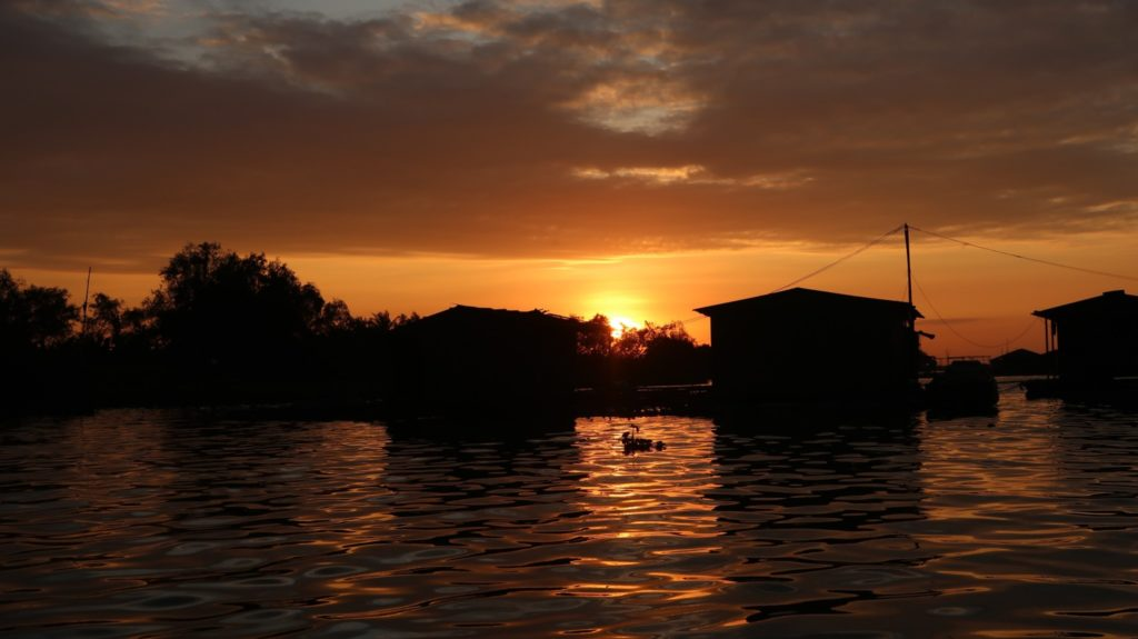 mit dem Boot zum Sonnenuntergang auf dem Mekong