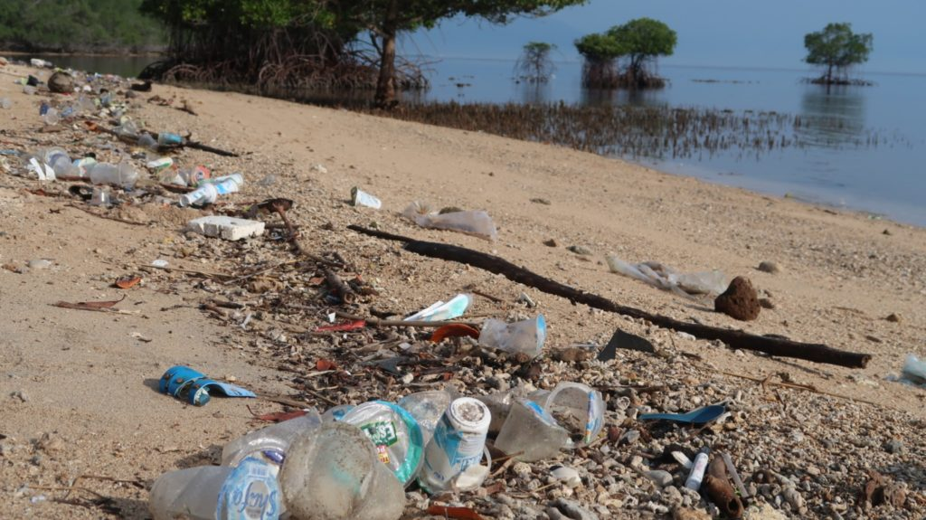 Plastikmüll im Nationalpark der Nusa Bay Indonesien